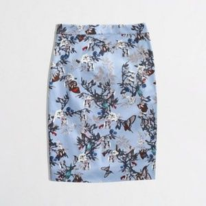 J. Crew Butterfly Floral Pencil Skirt